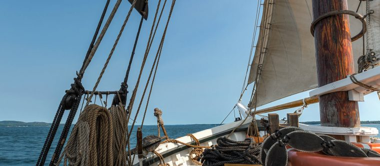 View from an old, wooden sailing ship