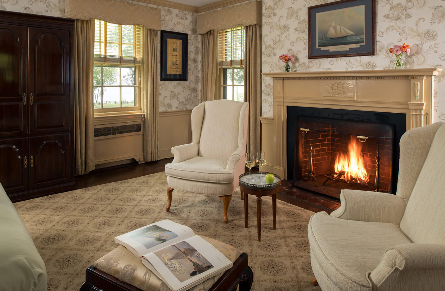 D'Oench Room seating area with fireplace at our Chestertown, MD B&B