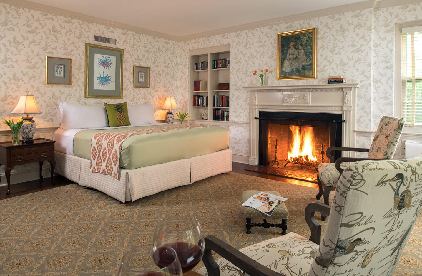 Marmaduke Room bed and fireplace at our B&B in Chestertown