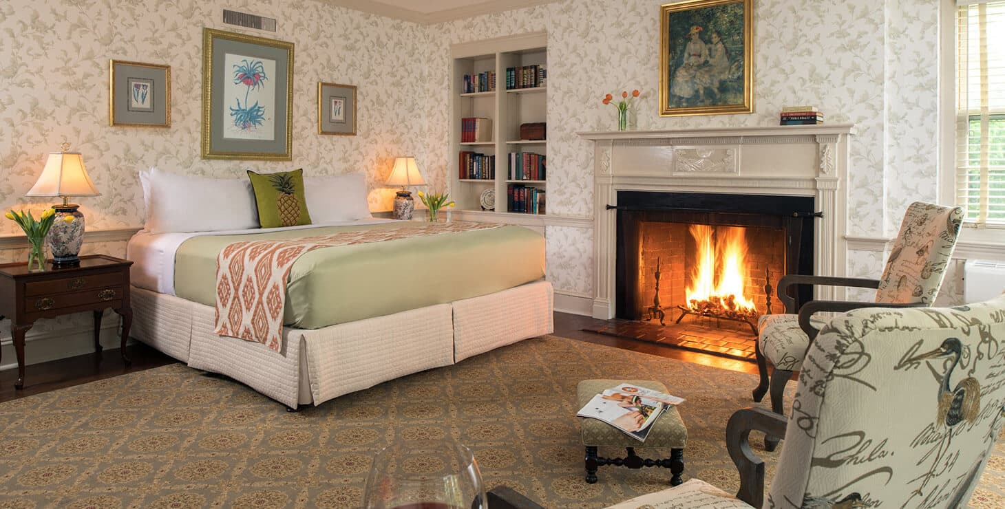 Marmaduke Room bed and fireplace at our Chestertown bed and breakfast