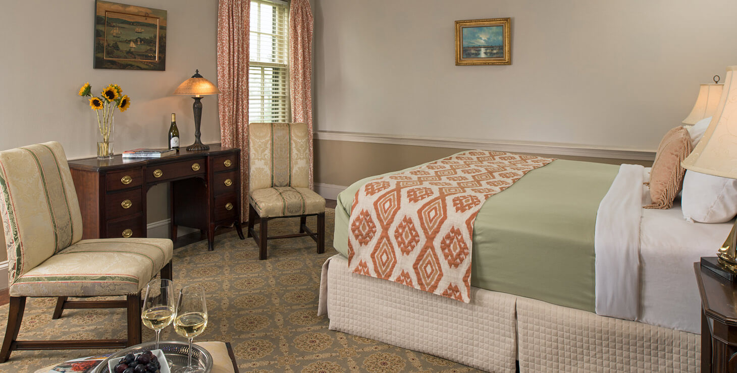 Tylden Room bed and seating area at our Chesapeake Bay bed and breakfast