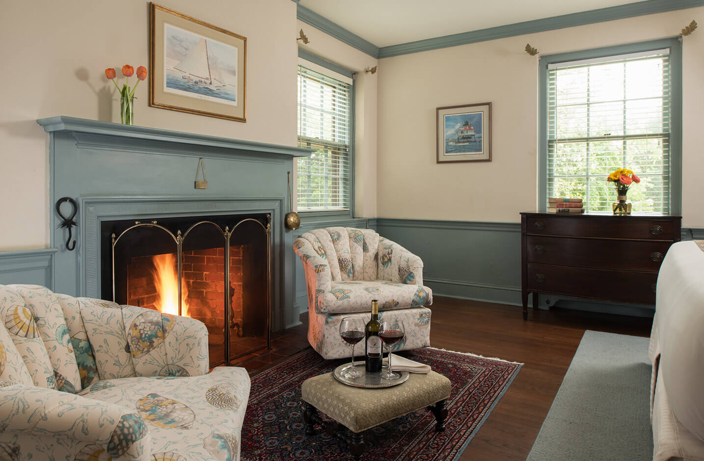 Wickes Room seating area with fireplace at our bed and breakfast in Chestertown, MD
