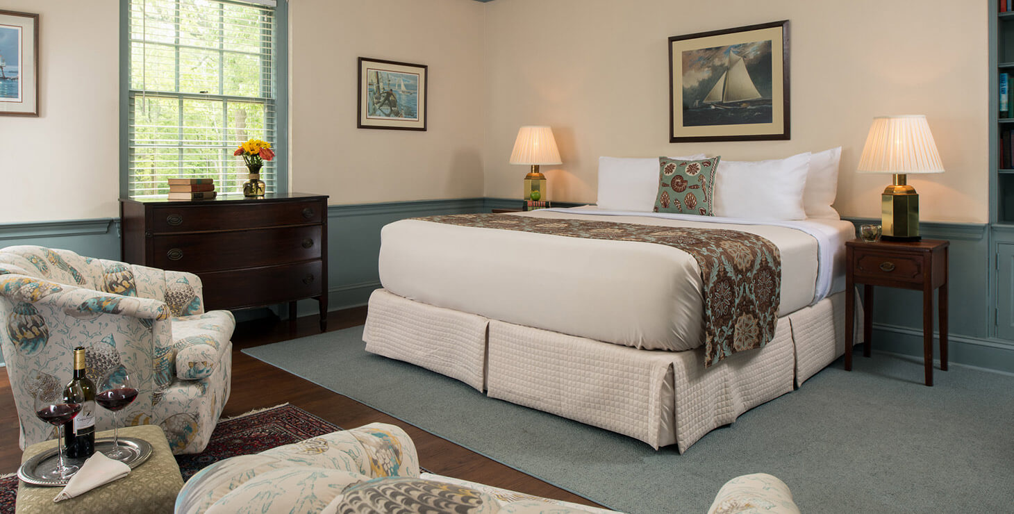 Wickes Room bed at our Eastern Shore B&B