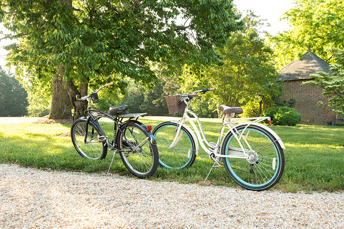 Bikes next to a path at our B&B in Chestertown