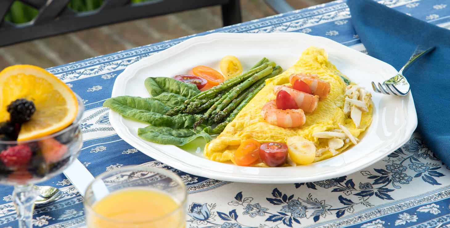 Omelette and veggies for breakfast at our Chestertown bed and breakfast