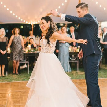 Bride and groom dancing at their Chesapeake Bay, MD wedding