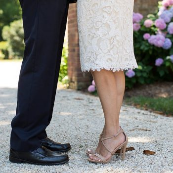Close up of bride and groom's shoes at our Chesapeake Bay wedding venue