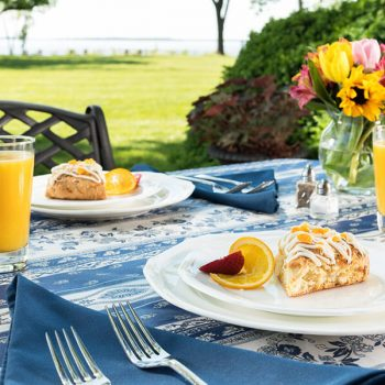 Breakfast served on an outdoor table at our B&B on Chesapeake Bay