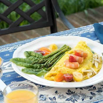 Omelette for breakfast at our Eastern Shore bed and breakfast