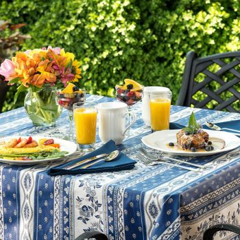 Outdoor table set for breakfast at our Chesapeake Bay B&B