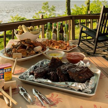 Food on an outdoor table at our B&B on Chesapeake Bay, Maryland