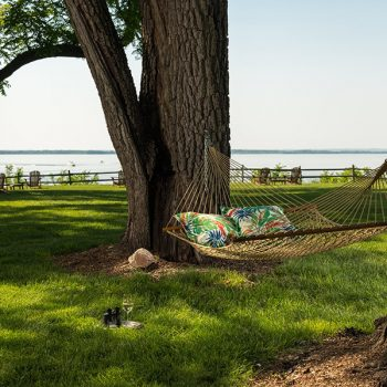 Hammock in the trees with view of water at our B&B in Chestertown
