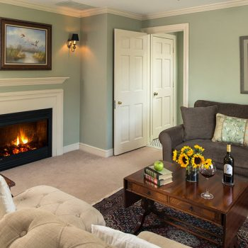 Roese Room seating area with fireplace at our Chestertown, MD B&B