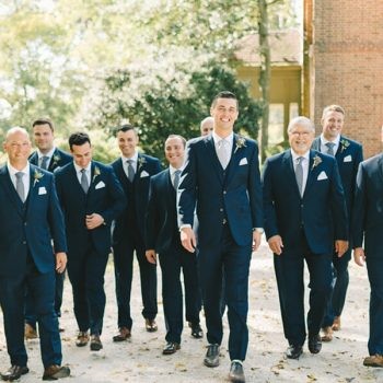 Groom walking with his groomsmen at our Chestertown B&B