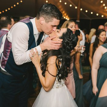 Groom kissing his bride on the dance floor of our Chestertown, MD wedding venue