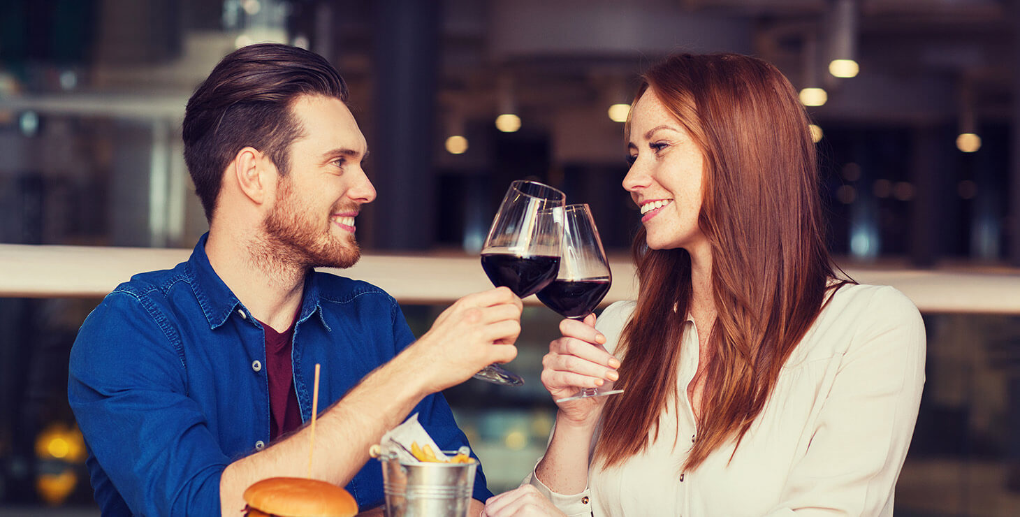 Couple drinking wine at a Chestertown, MD restaurant