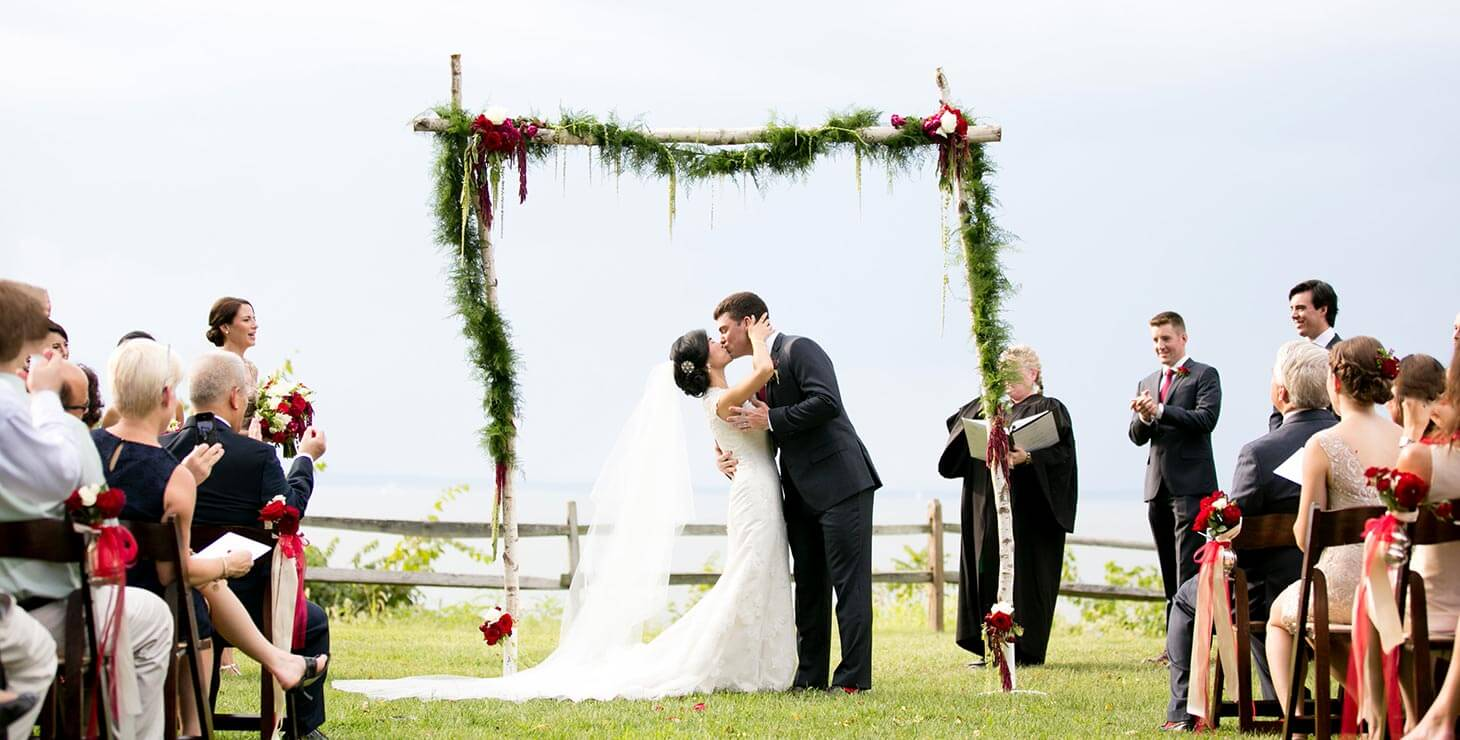Wedding Kiss at our Outdoor Chestertown, MD event venue