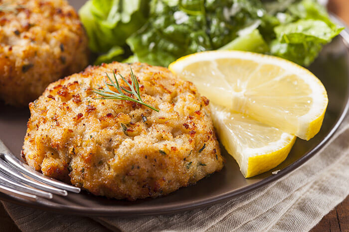 Crab cakes and lemon slices at a Chestertown, MD restaurant