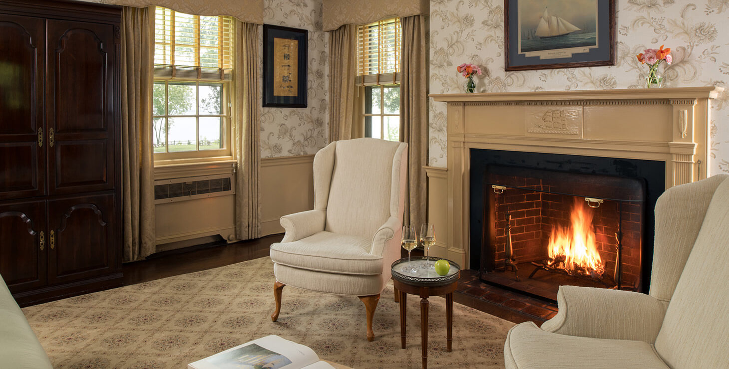 D'Oench room fireplace and seating area at our B&B Chesapeake Bay, MD