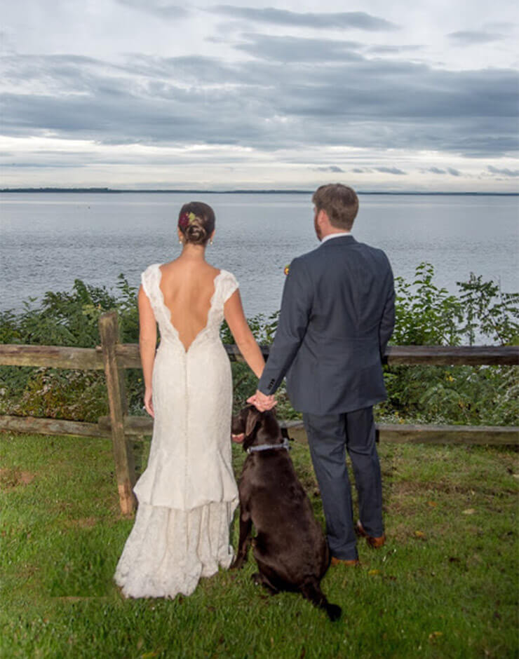 Wedding Couple in Front of Water