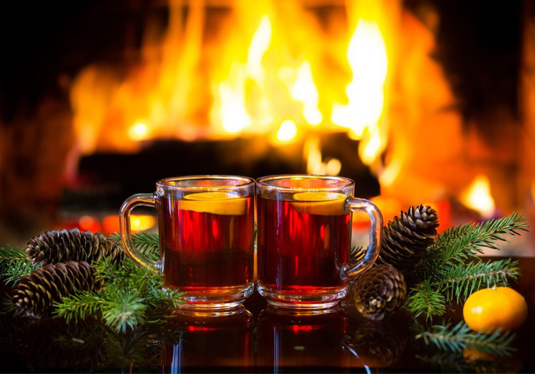Mugs by the Fire before Christmas Dinner