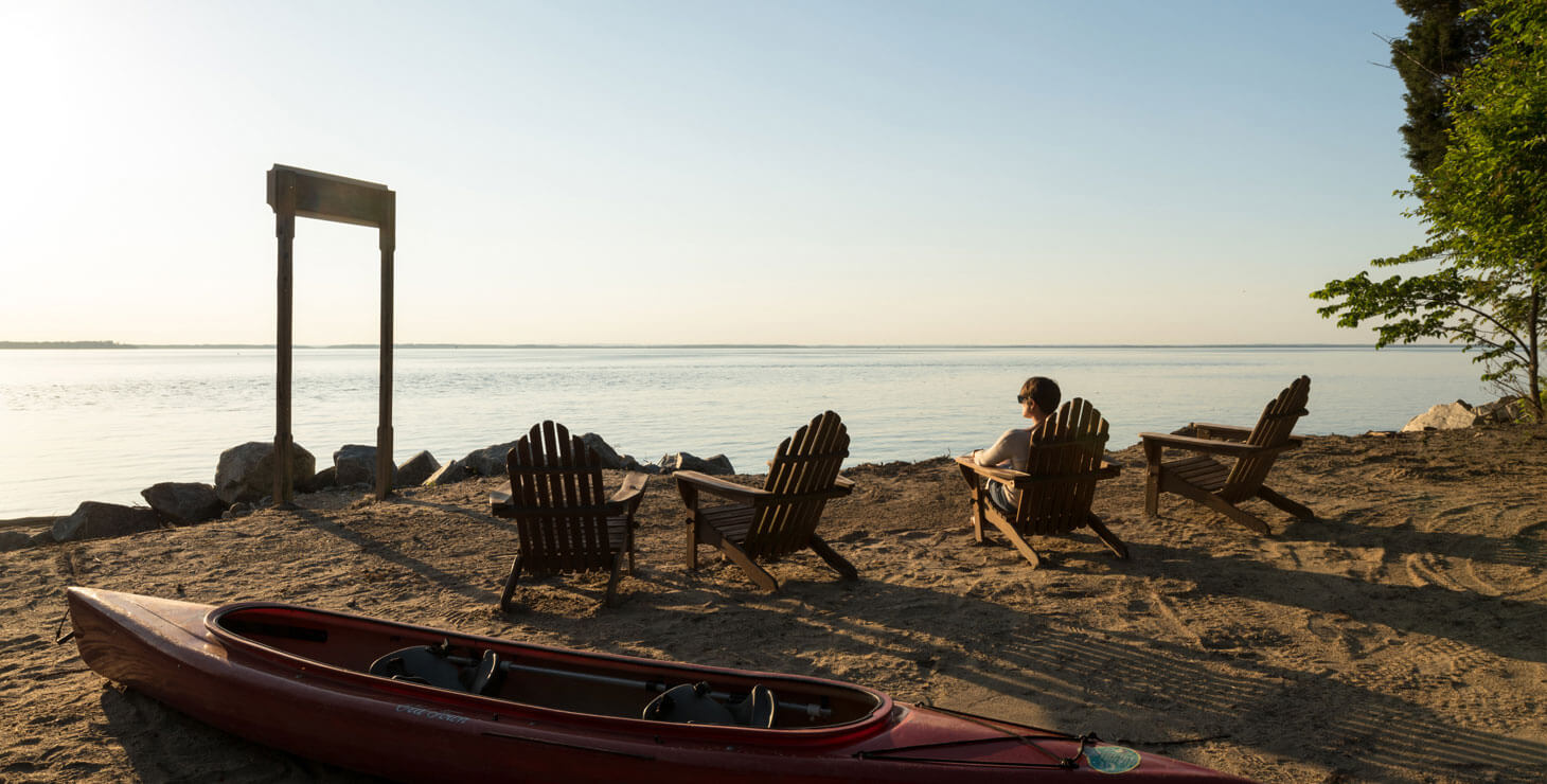 Woman relaxing on the beaches of the Chesapeake Bay