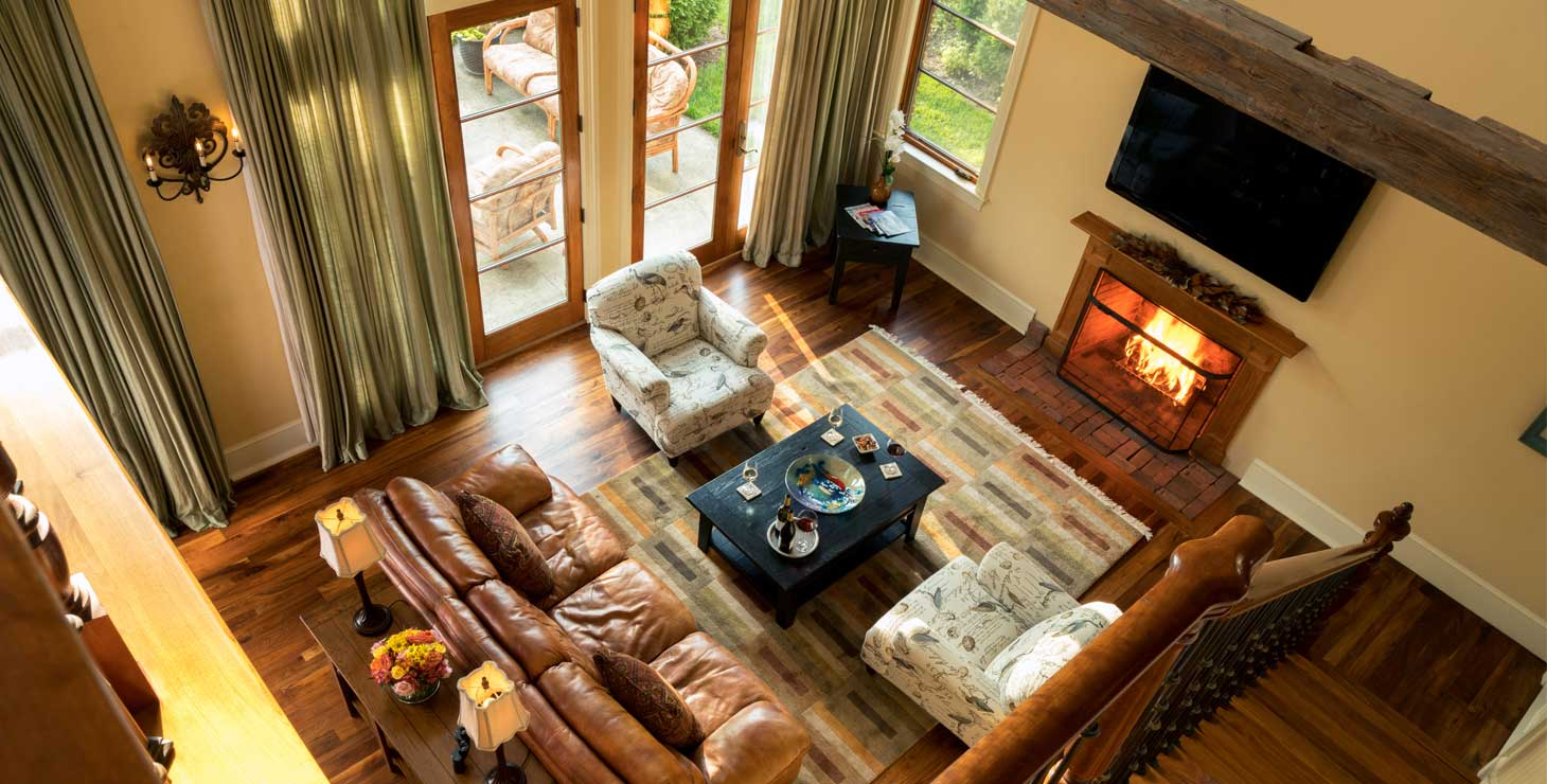 Overhead view of luxurious Carriage House living room