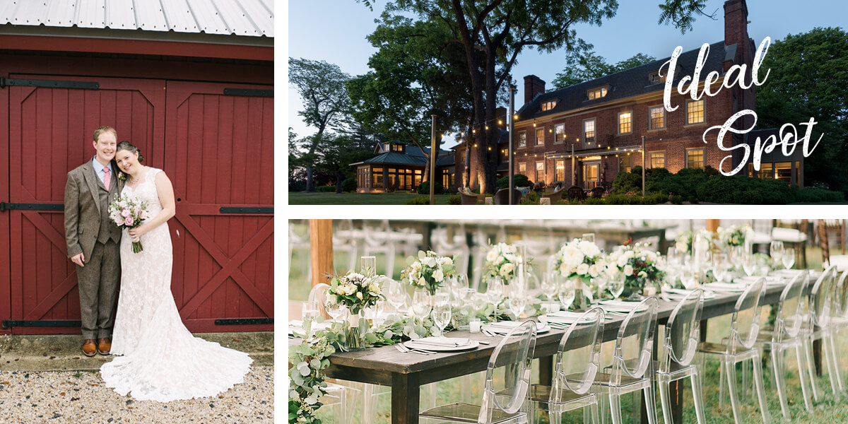 Ideal Spot. Bride and groom in front of a red barn, exterior of a brick inn and beautiful wedding table with white flowers