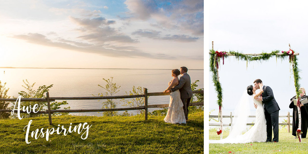 Awe Inspiring. Sunser and photo of bride and groom overlooking the Chesapeake Bay