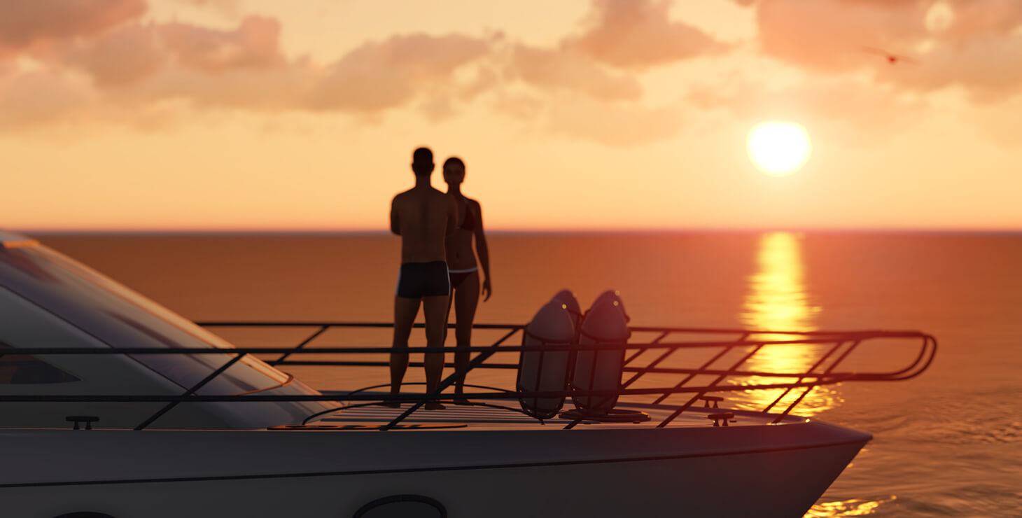 Couple on a yacht at sunset