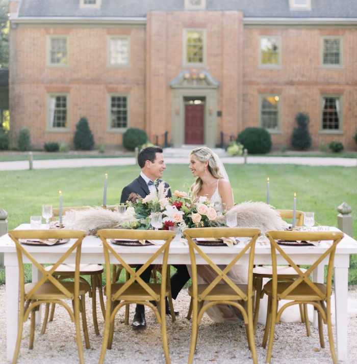 Bride and groom celerating their Maryland wedding at Great oak Manor