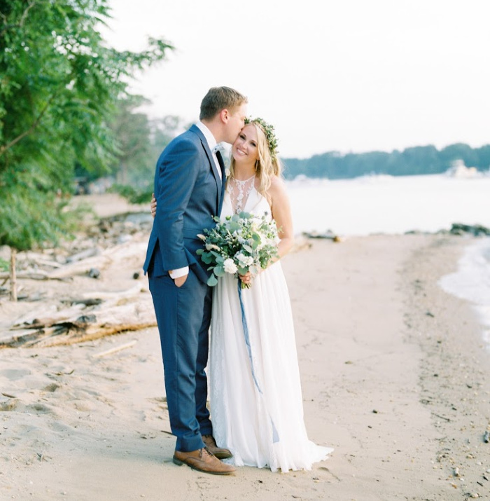 Couple celebrating their chesapeake bay elopement