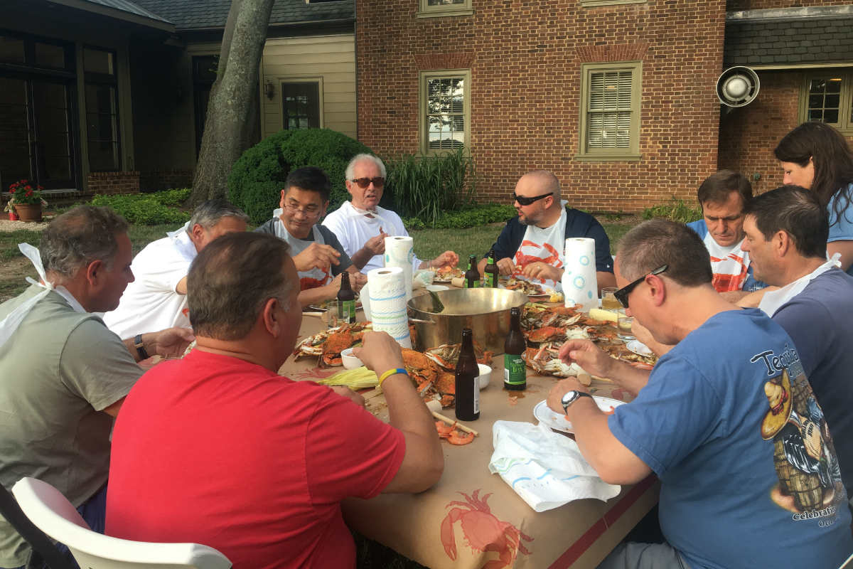 Guests of Great Oak Manor enjoying their summer crab feast on the Eastern Shore