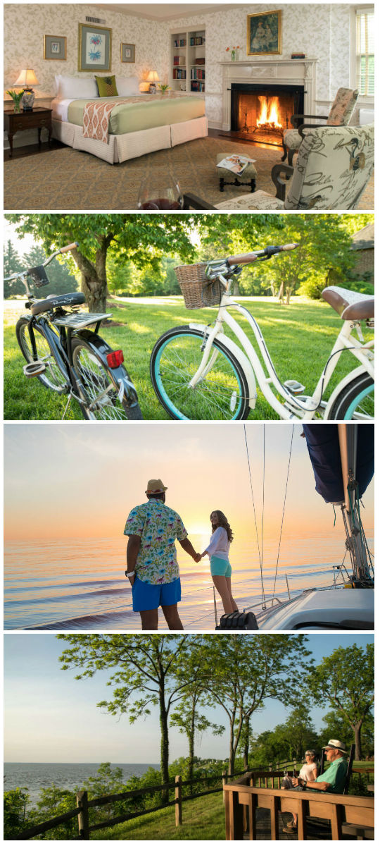 Collage of romantic room, complimentary cruiser bikes, couple on sunset cruise, and couple enjoying the views from Great Oak Manor