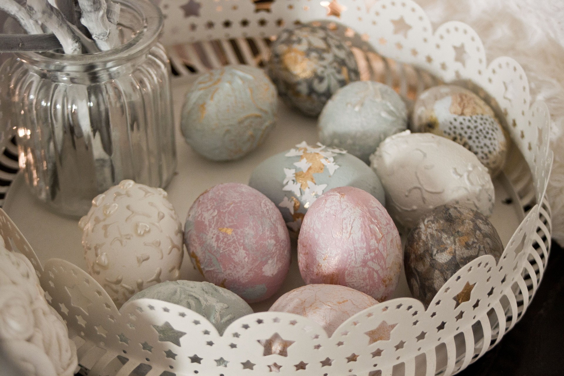 Decorative Eggs in a Basket